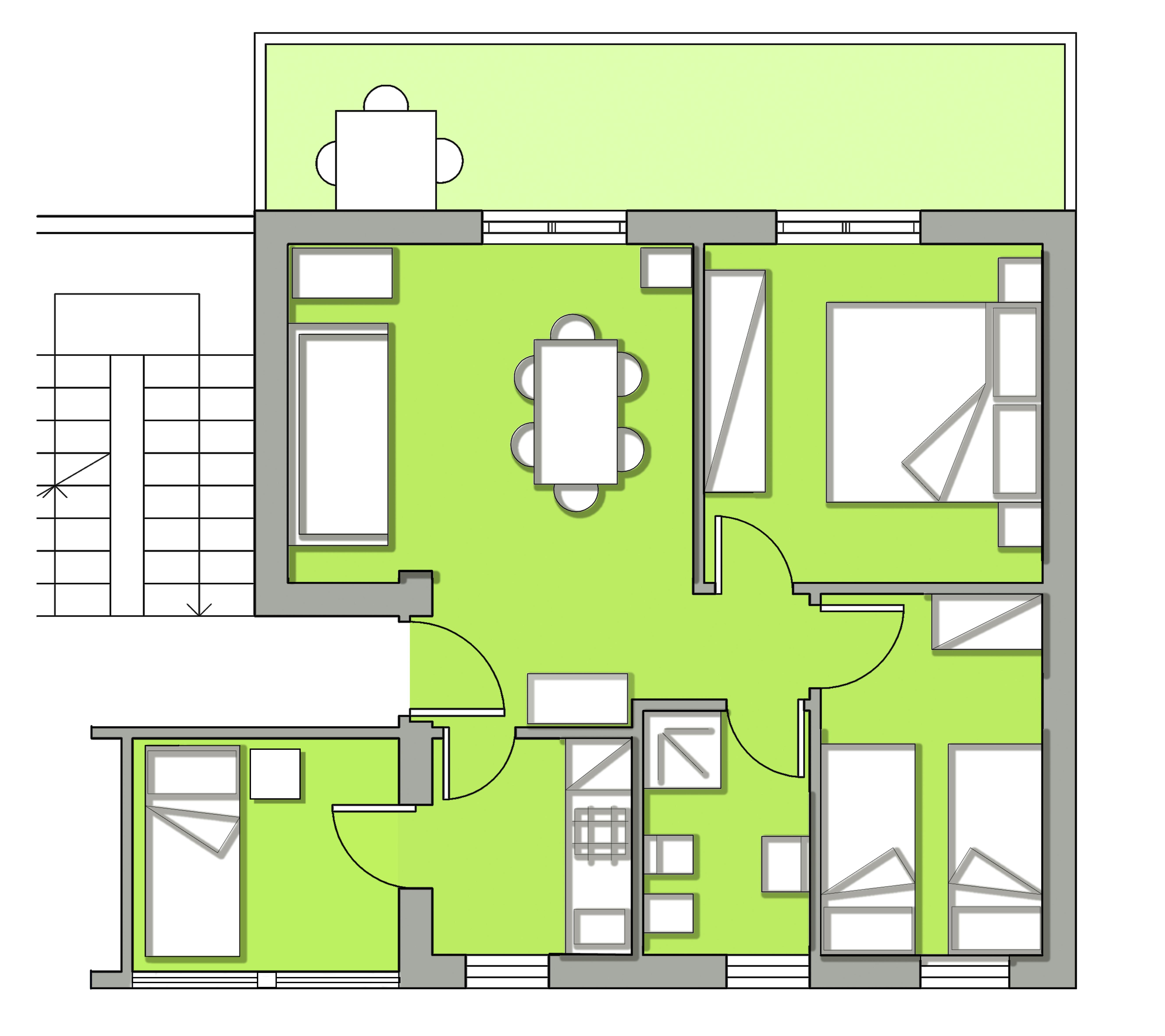 Planimetria trilocale i piano immobiliare meraglia for Affitti appartamenti non arredati